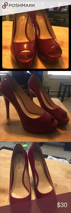 Guess high heel shoes Red open toed faux leather high heels Guess Shoes Heels