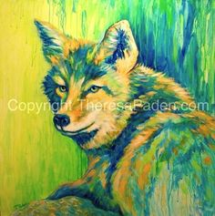 """""""Colorful Expressionistic Coyote Painting by Theresa Paden, SOLD"""" - Original Fine Art for Sale - © Theresa Paden Gold Acrylic Paint, Acrylic Painting Canvas, Wildlife Paintings, Southwest Art, Mixed Media Canvas, Art For Sale, Amazing Art, Fine Art America, Art Projects"""