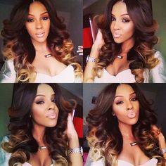 If I was gonna do a middle part weave, this is how I would want it to look! Big bouncy curls on top and slightly smaller bottom.
