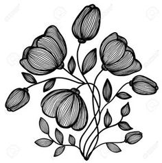 Beautiful Abstract Black-and-white Flower Of The Lines. Single Isolated On White Stock Vector - Illustration of beauty, abstract: 29617676 Abstract Line Art, Abstract Drawings, Pencil Art Drawings, Abstract Flowers, Art Drawings Sketches, Floral Flowers, Black And White Flowers, Black And White Drawing, Black And White Abstract