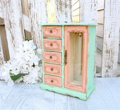 Two Tone, Mint And Coral Shabby Chic Jewelry Box / Armoire