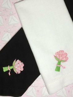 Set of 4 Bridal Shower Embroidered Cloth Napkins by whitetulipembroidery.com