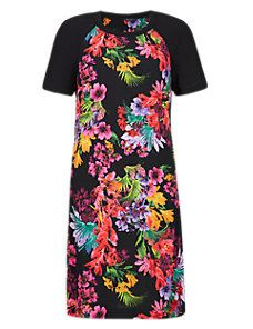 Black Mix Ribbed Neckline Tropical Print Tunic Dress