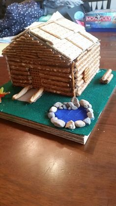 Miniature log cabin of pretzels and shredded wheat cereal for Log cabin project