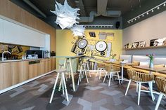 Morphoza recently completed the office design for global real estate consultancy, CBRE, located in Bucharest, Romania. Morphoza has designed a new office Interior Concept, Interior Design, Cafeteria Design, Banquette Seating, Office Environment, Workspace Design, Cool Cafe, Cool Apartments, Restaurant