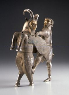 Pre-Achaemenid Silver and Gold Vessel in the Form of a Hero and a Winged Bull Found in Eastern Anatolia, Mesopotamia, and western Iran in the beginning of the 1st millennium BCE