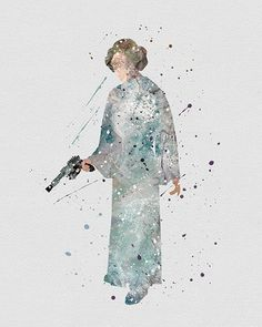 Princess Leia Star Wars Watercolor Art