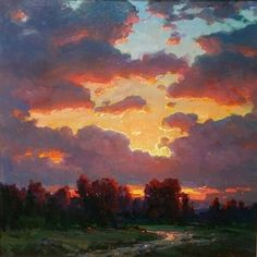 Ovanes Berberian - New Masters Gallery Landscape Art, Landscape Paintings, Sunset Paintings, Art Paintings, Art Sur Toile, Sky Painting, Sunrise Painting, Cloud Art, Aesthetic Painting