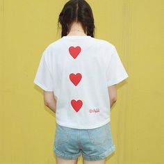 We-buys Women's Back Heart Patched Front Plaid Short Sleeve T-shirt Girls Top…