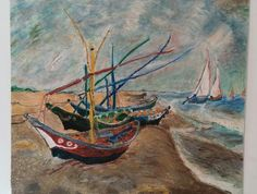 Van Gogh ...Fishing Boats on the Beach... reproduction in oil pastel