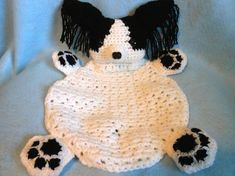Papillon Crochet Dog Blanket Canine Lovie Cuddle Dog от KatesCache