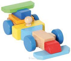 Bartl, Konstruktionsspiel Baufahrzeug, 45 magnetische Holzbausteine und verschiedene Vorlagekarten | 110187