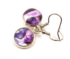 Purple Melted Crayon Earrings Upcycled Art by InstinctivelyIndie, $16.00