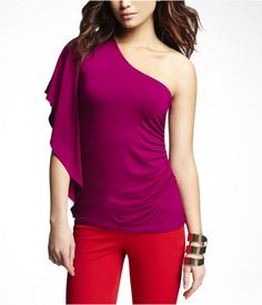 One Sleeve Ruched Top