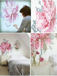 DIY: Cross-stitch on wall! Diy Love, Diy Casa, Wall Decor, Room Decor, Wall Art, Wall Patterns, Stitch Patterns, Decoration, Home Projects