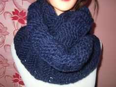 Chunky Knit infinity scarf in Navy color or SELECT COLOR, soft and warm by NKnitting on Etsy