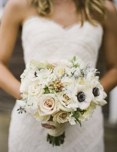 bouquet with white poppy anemones and roses loooovvveeeee - California Weddings: http://www.pinterest.com/fresnoweddings/