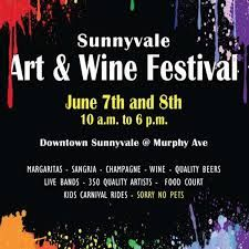 SUNNYVALE ART & WINE FESTIVAL 10AM to 6PM June 7-8, 2014  More than 300 artists, food, wine, local microbrews, classic car show, children's area and entertainment.  Downtown Sunnyvale at Murphy Avenue. Free admission. 408-736-4971, www.svcoc.org  Happening in the Bay | https://www.facebook.com/whatshappeninginthebay #sunnyvale art&winefestival wine festival bayarea happeninginthebay
