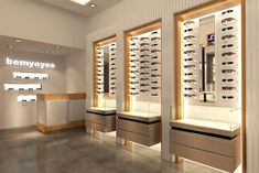 Choose best eyewear frame displays for eyewear shop design suppliers and best optical eyewear frame displays manufacturers. Jova Display Furniture co. offers clients affordable modern shop furniture for jewelry watch,cosmetic,clothing and more. Design Shop, Showroom Design, Interior Design Pictures, White Interior Design, Jewelry Store Design, Eyewear Shop, Glass Store, Optical Shop, Store Interiors
