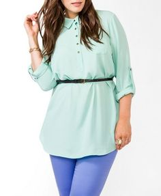 Belted Chiffon Tunic | FOREVER21 PLUS - 2044932223
