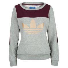 adidas Originals Art Crew Sweatshirt - Women's - Medium Grey Heather/Light Maroon/Tech Gold