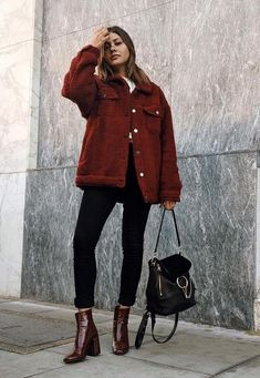 black ankle jeans deep red leather booties red corduroy jacket and a black handbag Visit Daily Dress Me at for more inspiration womens fashion 2018 fall fashion casual ou. Winter Outfits For Teen Girls, Fall Winter Outfits, Autumn Winter Fashion, Winter Style, Winter Wear, Fashion 2018, Look Fashion, Trendy Fashion, Womens Fashion