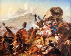 1838 Painting of a Zulu attack on a Voortrekker camp, by Charles Bell - South African Art, Art Galleries in South Africa, South African Artists Charles Bell, Cape Colony, South Africa Tours, South African Artists, African History, Battle, Art Gallery, February, Ancient Greece