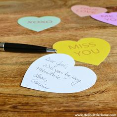 DIY Conversation Heart Valentine's Day Cards with Free Printables | Hello Little Home