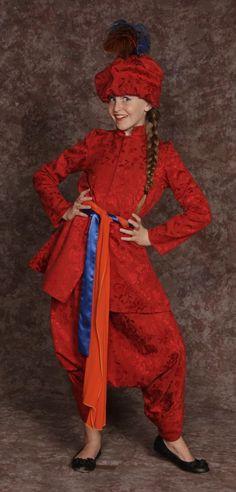$25.00  Iago red tunic, harem pants, & hat w/feathers, orange & blue sashes