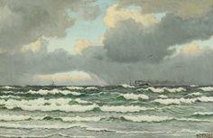 Maleri af Christian Blache (1838-1920): Marine med sejl- og motorskib.  Sign. Chr. Blache. Olie på lærred. 63 x 95.