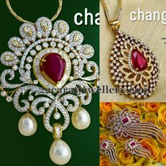 Jewellery Designs: PNGs Special Diamond Pendant Sets