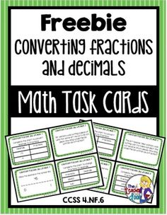 FREEBIE: This set of 24 task cards covers Converting Fractions and Decimals and is also part of a 30 set entire year bundle for 4th graders! Great focused practice for your students. (TpT resource)