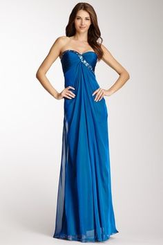 Strapless Cutout Back Gown