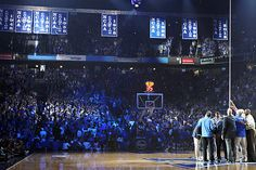 Kentucky Banners...former players from previous UK championship squads help raise all 8 championship banners. Oh YEAH!!! We chasing after you, UCLA. And we gonna get'cha.