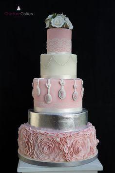 Ruffles, sugar Lace, Sugar Roses and  sugar Cameos wedding cake  ~ all edible