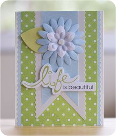 Pinking Rotary Blade Life is Beautiful Card Project Idea