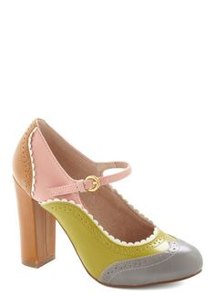 Primed to Parade Heel in Grey Multi by Chelsea Crew - Multi, Colorblocking, Mary Jane, Better, Green, Pink, Tan / Cream, Grey