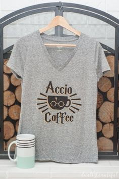 Show your love for Harry Potter and coffee with this DIY t-shirt! Follow along with this tutorial to make a nerdy shirt that fellow Potterheads will love! Make your own magic!