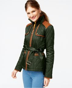 Vince Camuto Faux-Suede-Trim Quilted Barn Jacket - Coats - Women - Macy's