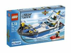 """LEGO Police Boat 7287 by LEGO. $134.99. Includes 2 police officer and robber minifigures. Boat measures 16"""" long. Police boat floats in water. Accessories include personal watercraft, life vests, handcuffs and walkie-talkie. 172 elements. From the Manufacturer                Patrol and protect the waterways of LEGO City! The robber is fleeing on the personal watercraft. Catch him using the high speed police boat, put him in handcuffs and take him to the city jail!     ..."""