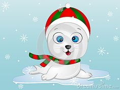 Illustration of a Baby Seal wearing Winter Cap and Muffler with Snowflakes in the background.