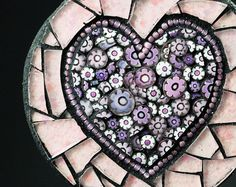 Mosaic Pink and Lilac Heart