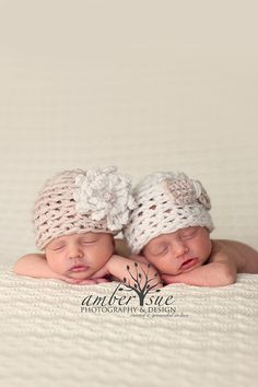 Twin Baby Girl Flower and Bow Hat in Linen and White - Newborn Twin Photo Prop Hats