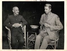 WWII Generalissimo Chiang Kai-Shek with U.S. General Wedemeyer Orig Press Photo on 6-28-1945
