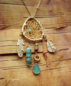 Couture Gold Birds Nest Dreamcatcher Necklace by PurpleFinchStore, $88.00