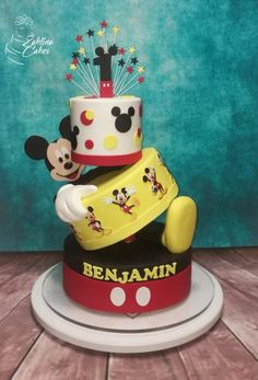Mickey topsy turvy cake by Zaklina Mickey 1st Birthdays, Mickey Mouse Cupcakes, Mickey Mouse Clubhouse Birthday Party, Mickey Mouse 1st Birthday, Mickey Cakes, Baby Birthday Cakes, Mickey Party, Mickey Mouse Parties, Disney Parties