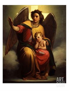 The Guardian Angel. Antonio Zòna, was an Italian painter, active in a style fusing Neoclassicism and Romantic style Guardian Angel Pictures, The Guardian, Gardian Angel, Angels Among Us, Archangel Michael, Religious Art, Religious Pictures, Beach Landscape, Angel Art