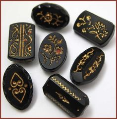 Victorian Antique Jet Black Glass Buttons w Incised Gold Designs