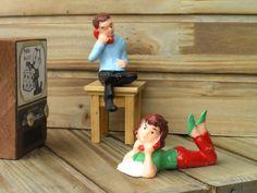 Vintage Set of Cake Toppers  Plastic Miniature by VintageUpperLoft
