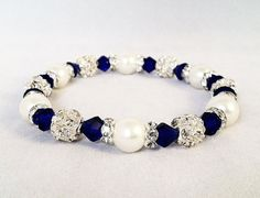 Hey, I found this really awesome Etsy listing at https://www.etsy.com/listing/119262968/bridal-or-flower-girl-bracelet-navy